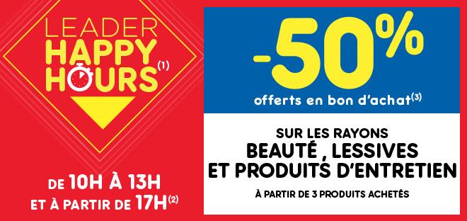 Leader Happy Hours Beauté, lessives et produits d'entretien