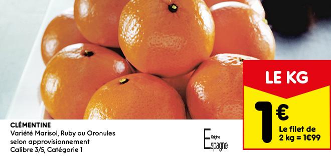 Clémentine Variété Marisol, Ruby ou Oronules  selon approvisionnement Calibre 3/5, Catégorie 1