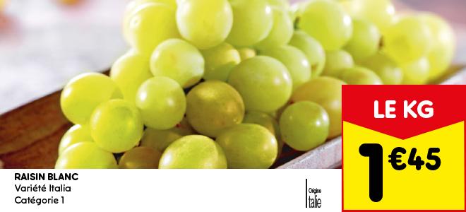 Raisin blanc, variété Italia, Catégorie 1