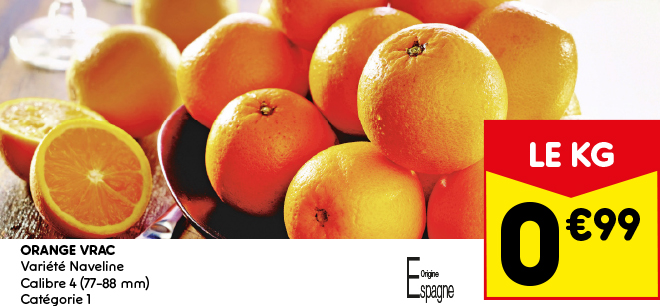 Orange vrac, variété Naveline - Calibre 4 - Catégorie 1